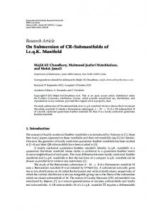 On Submersion of CR-Submanifolds of lcqK Manifold