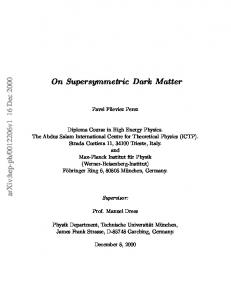 On Supersymmetric Dark Matter