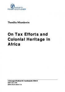 On Tax Efforts and Colonial Heritage in Africa - CiteSeerX