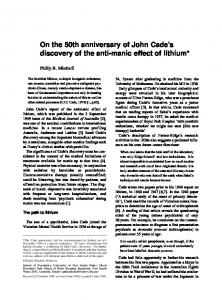 On the 50th anniversary of John Cade's discovery of the anti-manic ...