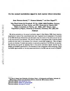 On the annual modulation signal in dark matter direct detection