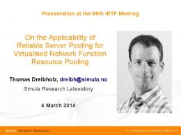 On the Applicability of Reliable Server Pooling for Virtualised Network ...