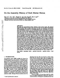 On the Assembly History of Dark Matter Haloes