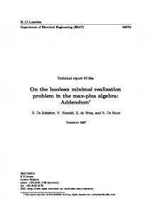 On the boolean minimal realization problem in the ... - Semantic Scholar