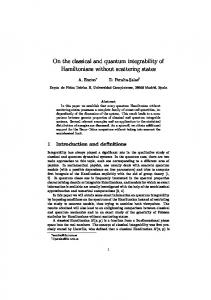 On the classical and quantum integrability of Hamiltonians ... - icmat