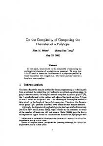 On the Complexity of Computing the Diameter of a Polytope - CMU Math