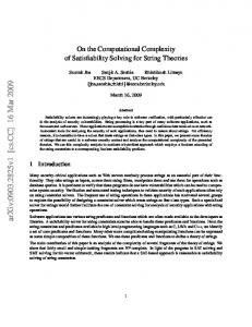 On the Computational Complexity of Satisfiability Solving for String ...