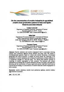 On the concentration of creative industries in specialized creative local ...