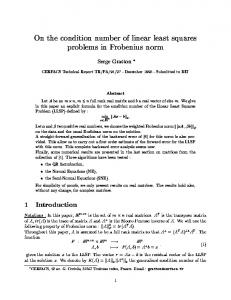 On the condition number of linear least squares problems ... - CiteSeerX
