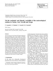 On the continuity and climatic variability of the ... - Springer Link