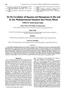On the Correlation of Aqueous and Nonaqueous In Situ and Ex Situ ...