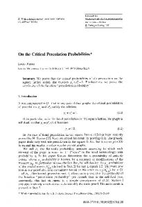 On the critical percolation probabilities