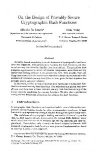 On the Design of Provably-Secure Cryptographic Hash ... - Springer Link