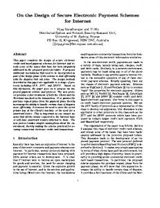 On the Design of Secure Electronic Payment ... - Semantic Scholar