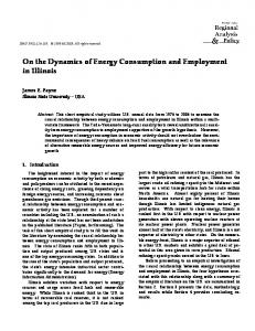 On the Dynamics of Energy Consumption and ... - AgEcon Search