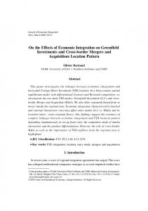 On the Effects of Economic Integration on Greenfield Investments and ...