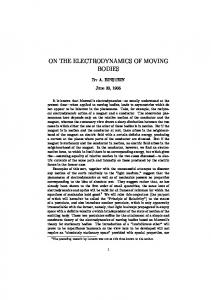 on the electrodynamics of moving bodies - Fourmilab