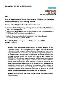 On the Evaluation of Solar Greenhouse Efficiency in Building ... - MDPI