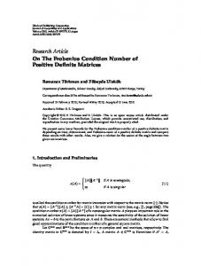 On The Frobenius Condition Number of Positive Definite Matrices - EMIS