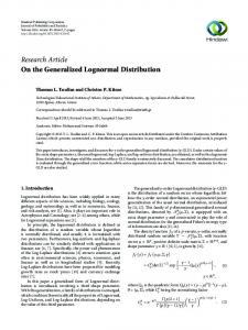 On the Generalized Lognormal Distribution