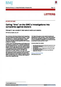 on the GMC's investigations into complaints against ...
