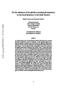 On the influence of the global cosmological expansion on the local ...