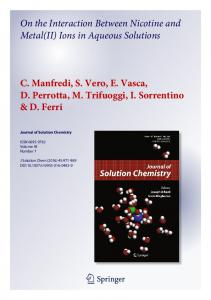 On the Interaction Between Nicotine and Metal(II) Ions