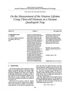 On the Measurement of the Neutron Lifetime Using ... - NIST Page