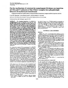 On the mechanism of cytolysis by complement ... - Europe PMC