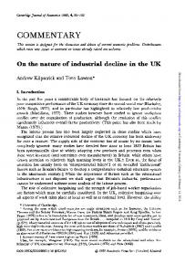 On the nature of industrial decline in the UK
