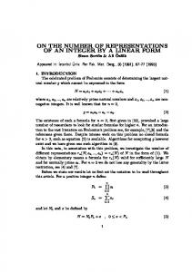 on the number of representations of an integer by a ... - Bilkent University