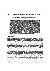 On the partial stochastic realization problem - CiteSeerX