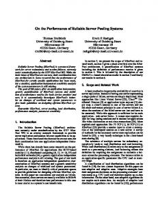 On the Performance of Reliable Server Pooling ... - Semantic Scholar
