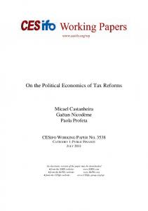 On the Political Economics of Tax Reforms