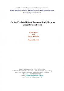 On the Predictability of Japanese Stock Returns using Dividend Yield