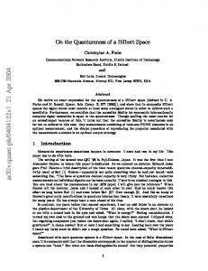 On the Quantumness of a Hilbert Space