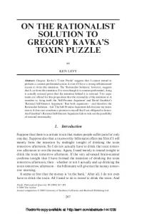 on the rationalist solution to gregory kavka's toxin puzzle - PhilArchive
