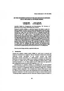 on the reconstruction of the mus musculus genome- scale ... - CiteSeerX
