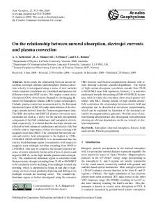 On the relationship between auroral absorption ... - ann-geophys.net