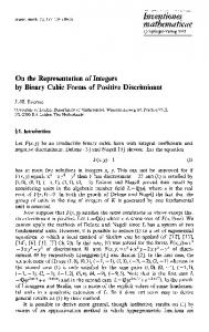 On the representation of integers by binary cubic forms ... - Springer Link
