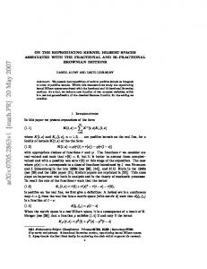 ON THE REPRODUCING KERNEL HILBERT SPACES ASSOCIATED ...