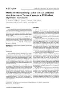 On the role of noradrenergic system in PTSD and ...