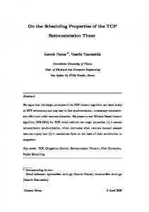 On the Scheduling Properties of the TCP ... - Semantic Scholar