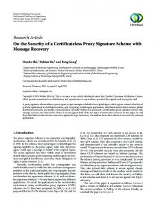 On the Security of a Certificateless Proxy Signature Scheme with ...