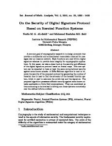On the Security of Digital Signature Protocol Based on Iterated ...