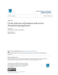 On the Selection of Simulation Software for Manufacturing Application