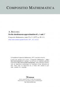 On the simultaneous approximation of a, b and ab - Numdam