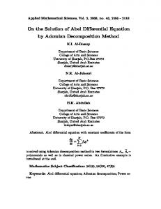 On the Solution of Abel Differential Equation by Adomian