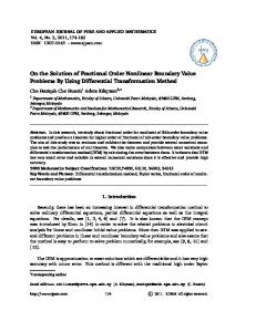 On the Solution of Fractional Order Nonlinear Boundary Value ...