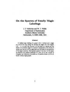 On the Spectra of Totally Magic Labelings - Southern Illinois University